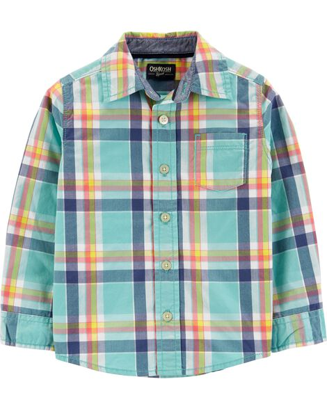Button-Front Plaid Shirt