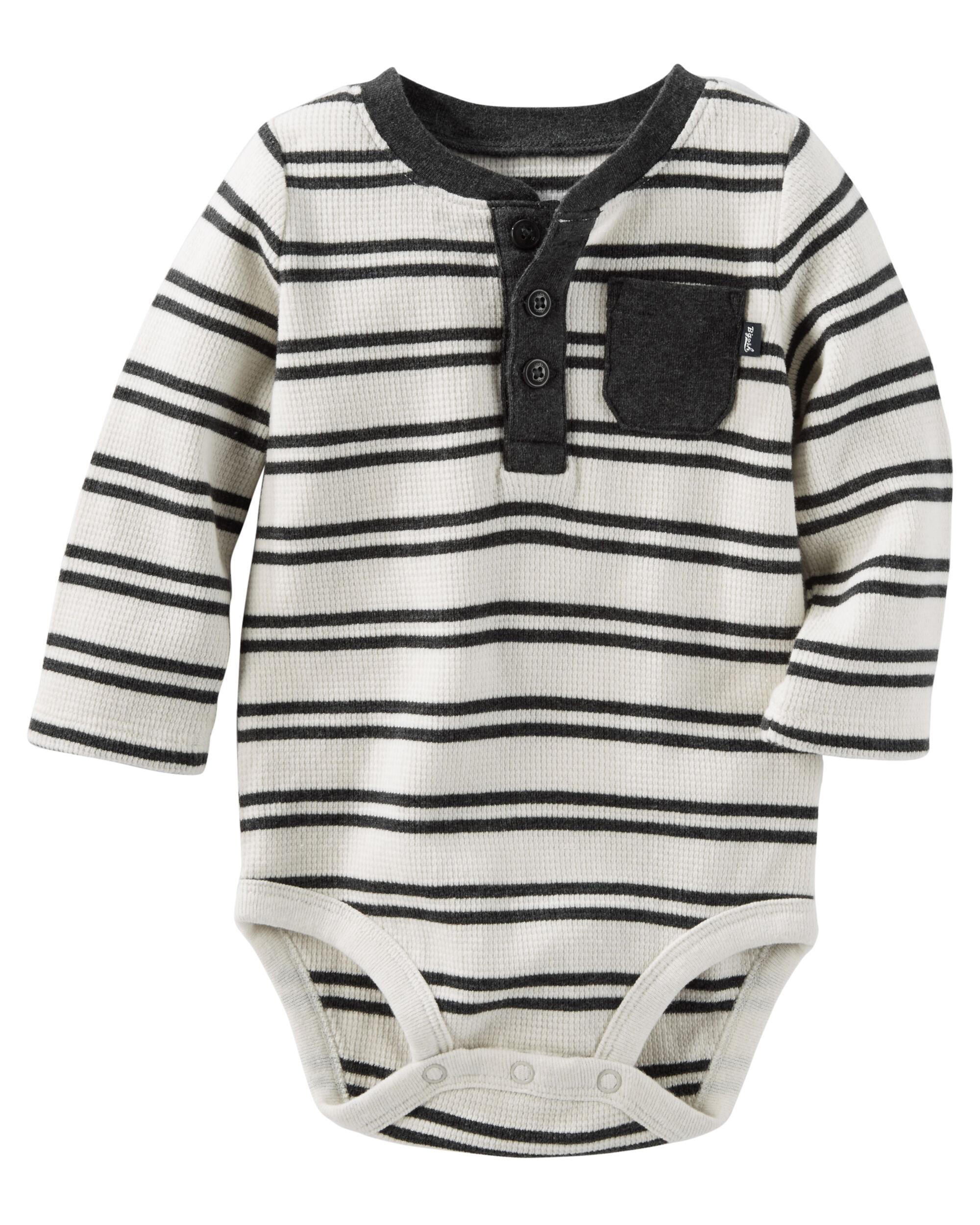 Striped Thermal Henley Bodysuit Oshkosh Com