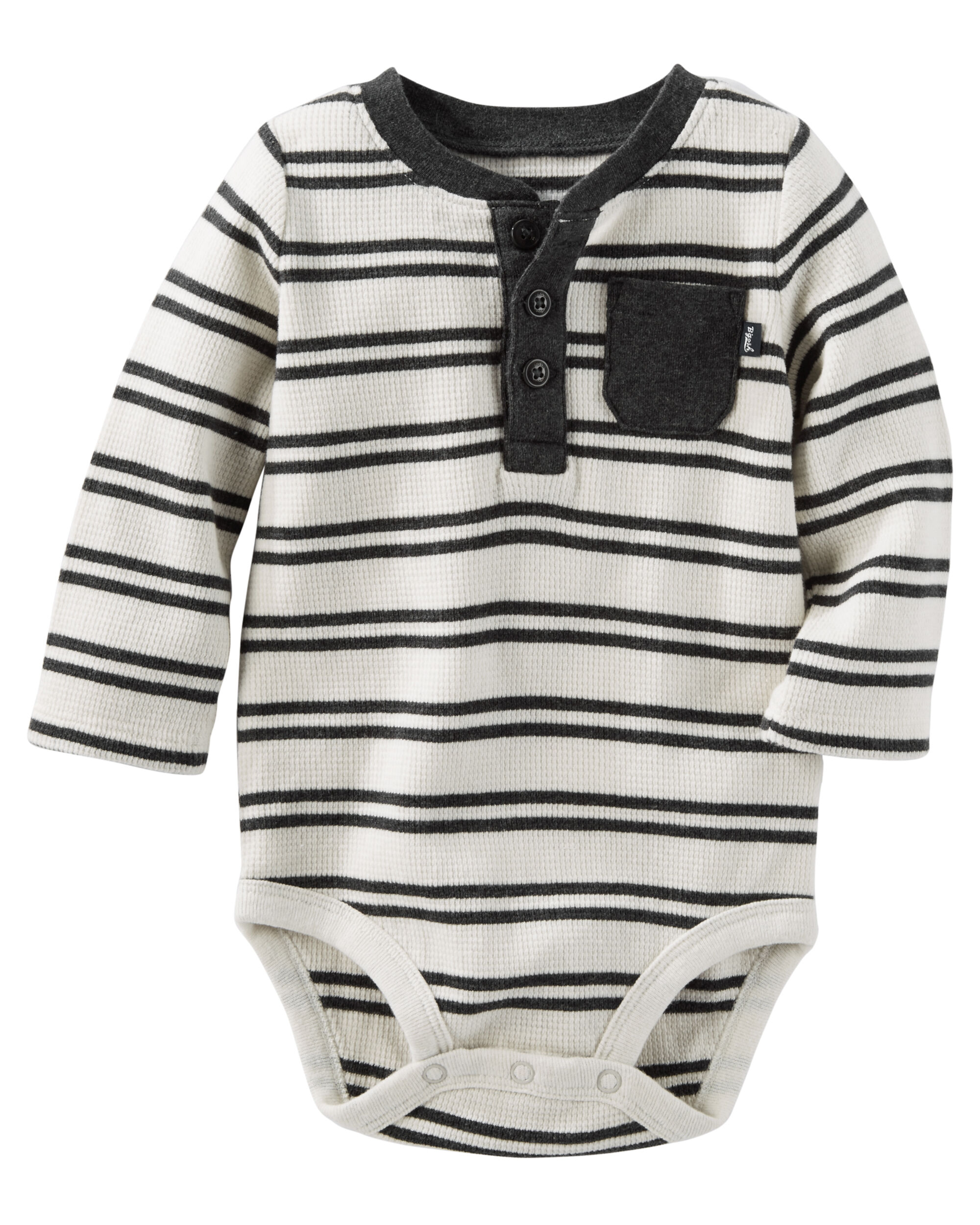 Striped Thermal Henley Bodysuit