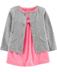 3d5f5c4a7b37 2-Piece Bodysuit Dress   Cardigan Set