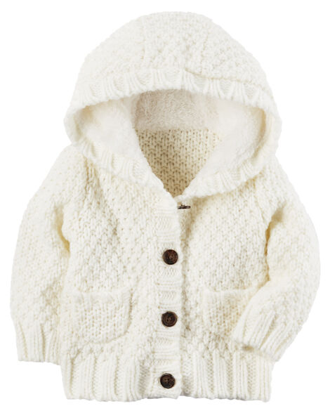 684b11117 Baby Girl Button-Front Hooded Cardigan