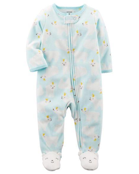 9693380a2560 Baby Girl Polar Bear Zip-Up Fleece Sleep   Play