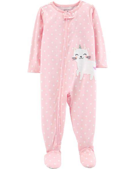 92841d86e Baby Girl 1-Piece Cat Poly PJs