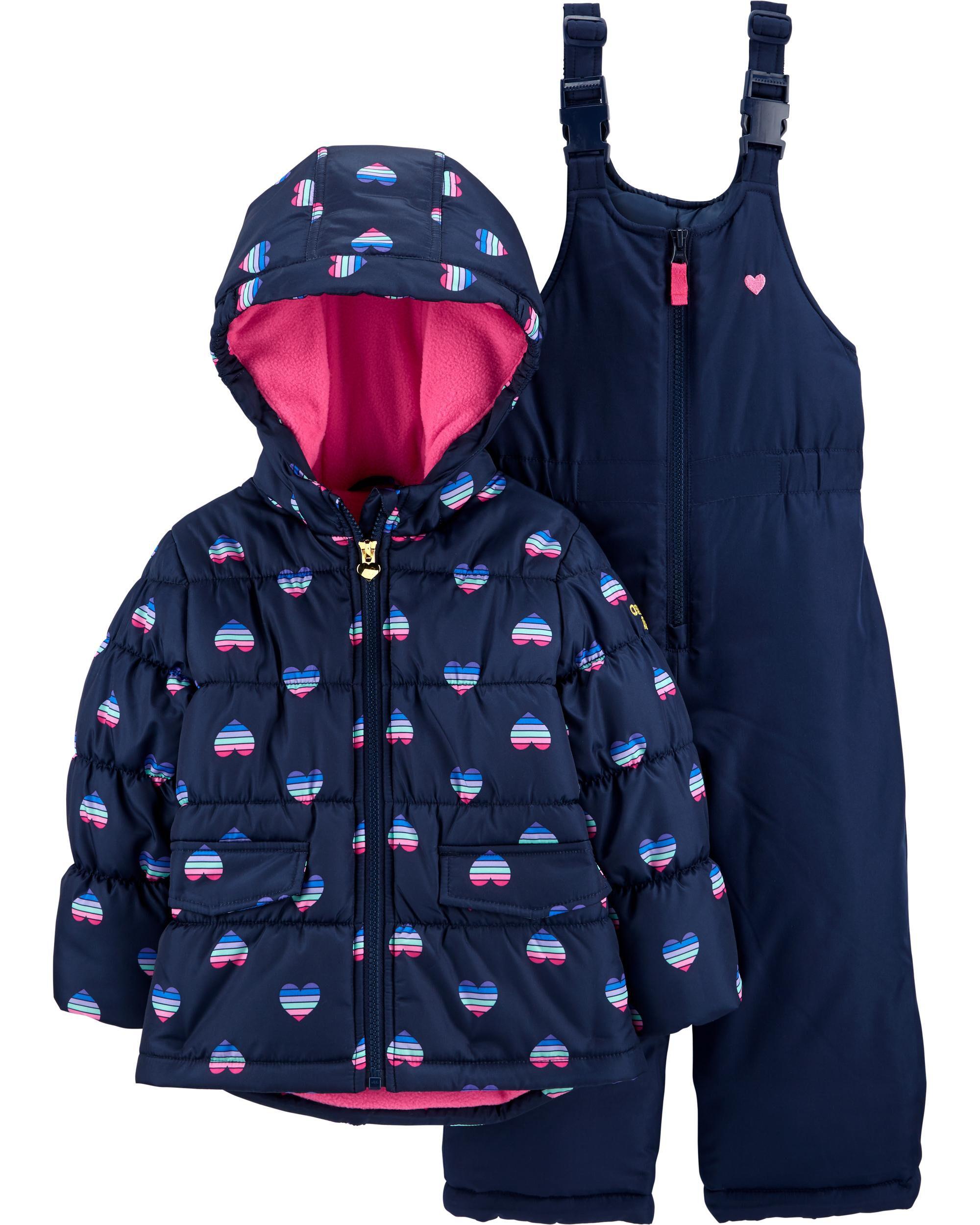 Osh Kosh B/'gosh Infant Girls Navy /& Pink Heart Print Snowsuit Size 12M 18M 24M