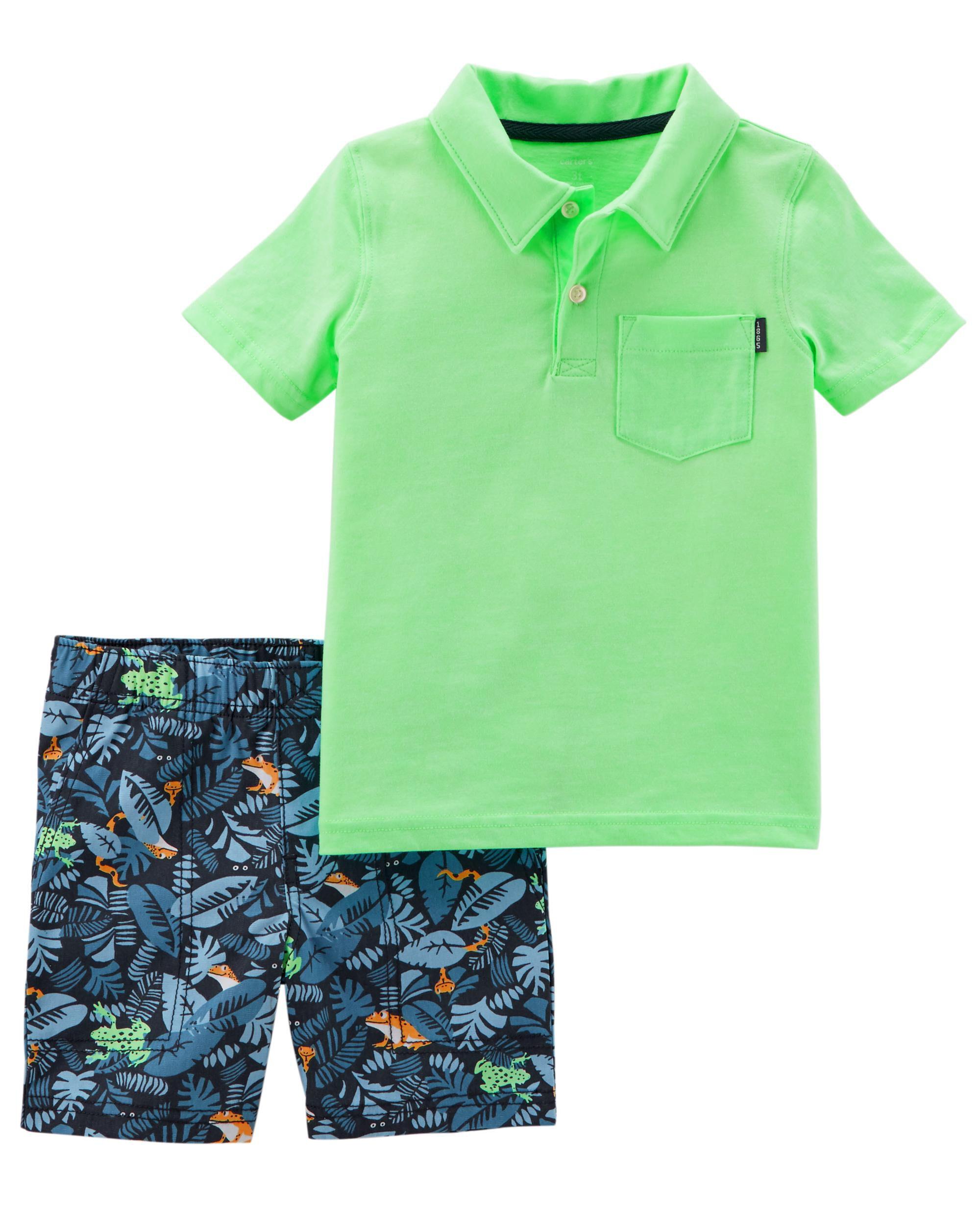 Baby Boy 2 Piece Neon Jersey Polo Canvas Shorts Set Carters Com