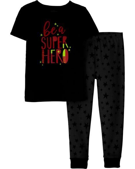 2-Piece Snug Fit Superhero Cotton PJs