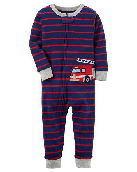 cc3ececfb Baby Boy 1-Piece Firetruck Snug Fit Cotton Footless PJs