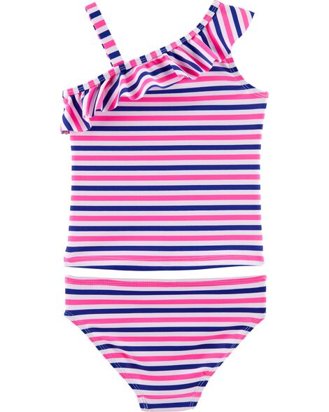 OshKosh Striped One Shoulder Tankini