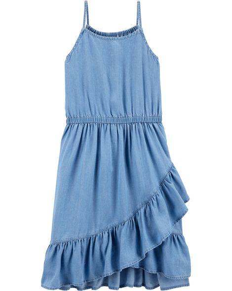 Chambray Ruffle Midi Dress