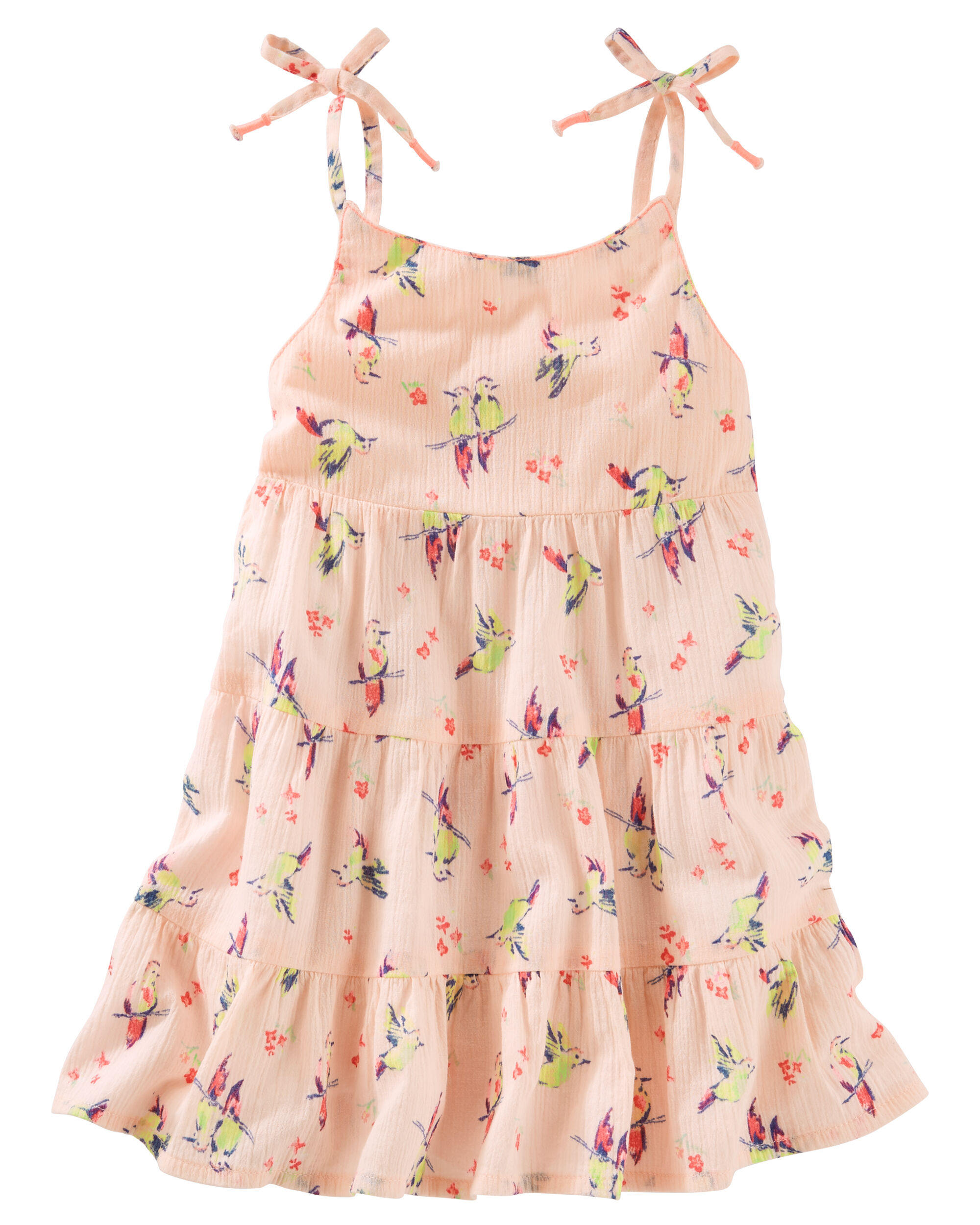 2 Piece Tiered Ruffle Hummingbird Print Dress