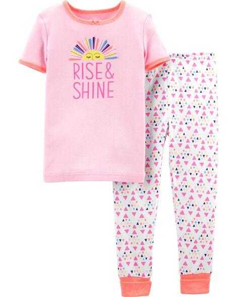 2-Piece Snug Fit Rise & Shine Cotton PJs