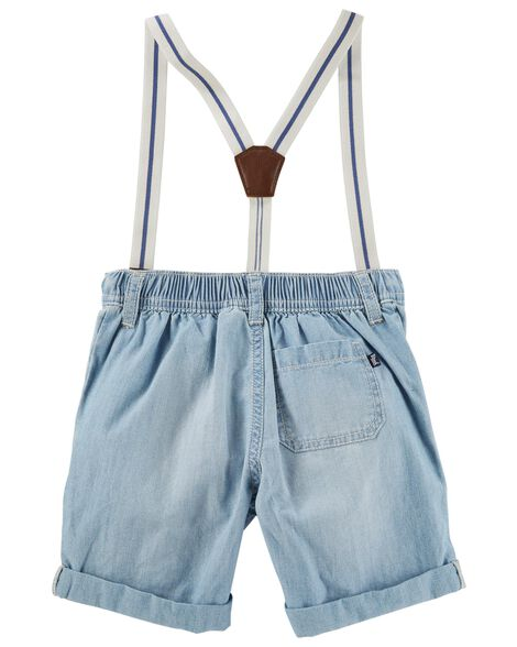 Suspender Chambray Shorts