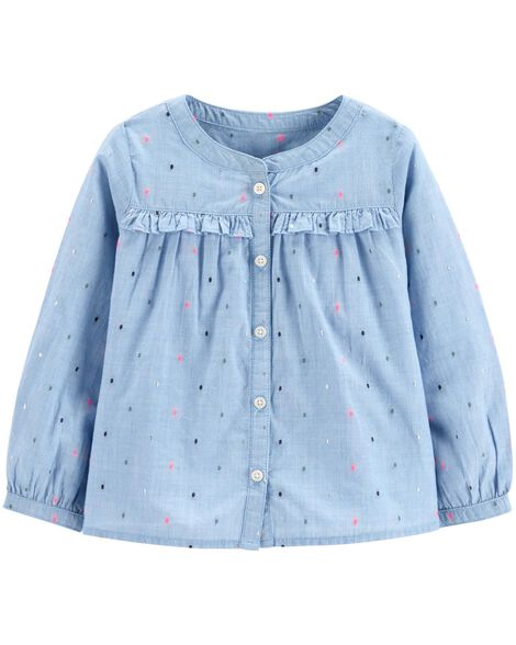 Sparkle Ruffle-Front Top