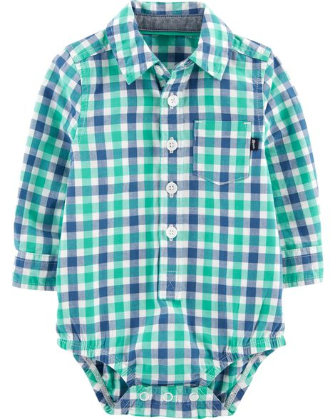 Button-Front Gingham Bodysuit