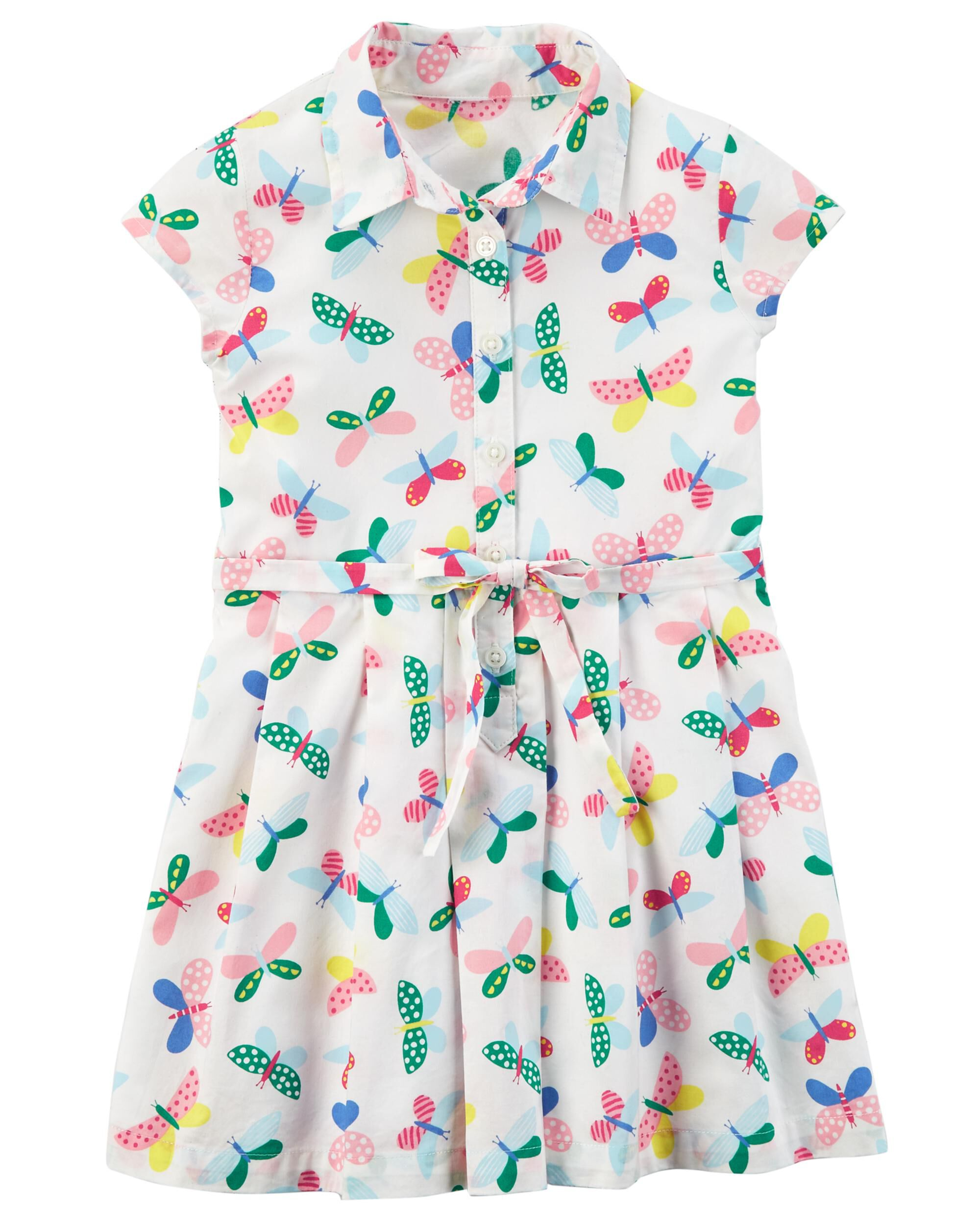 6ea292c820fa Toddler Girl Butterfly Poplin Dress