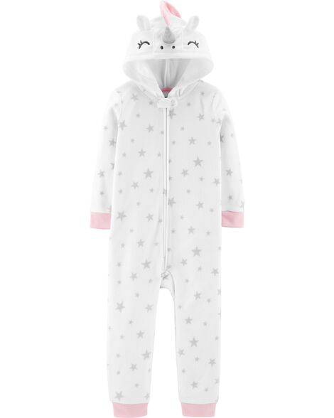 54b128f729b6 1-Piece Unicorn Hooded Fleece Footless PJs