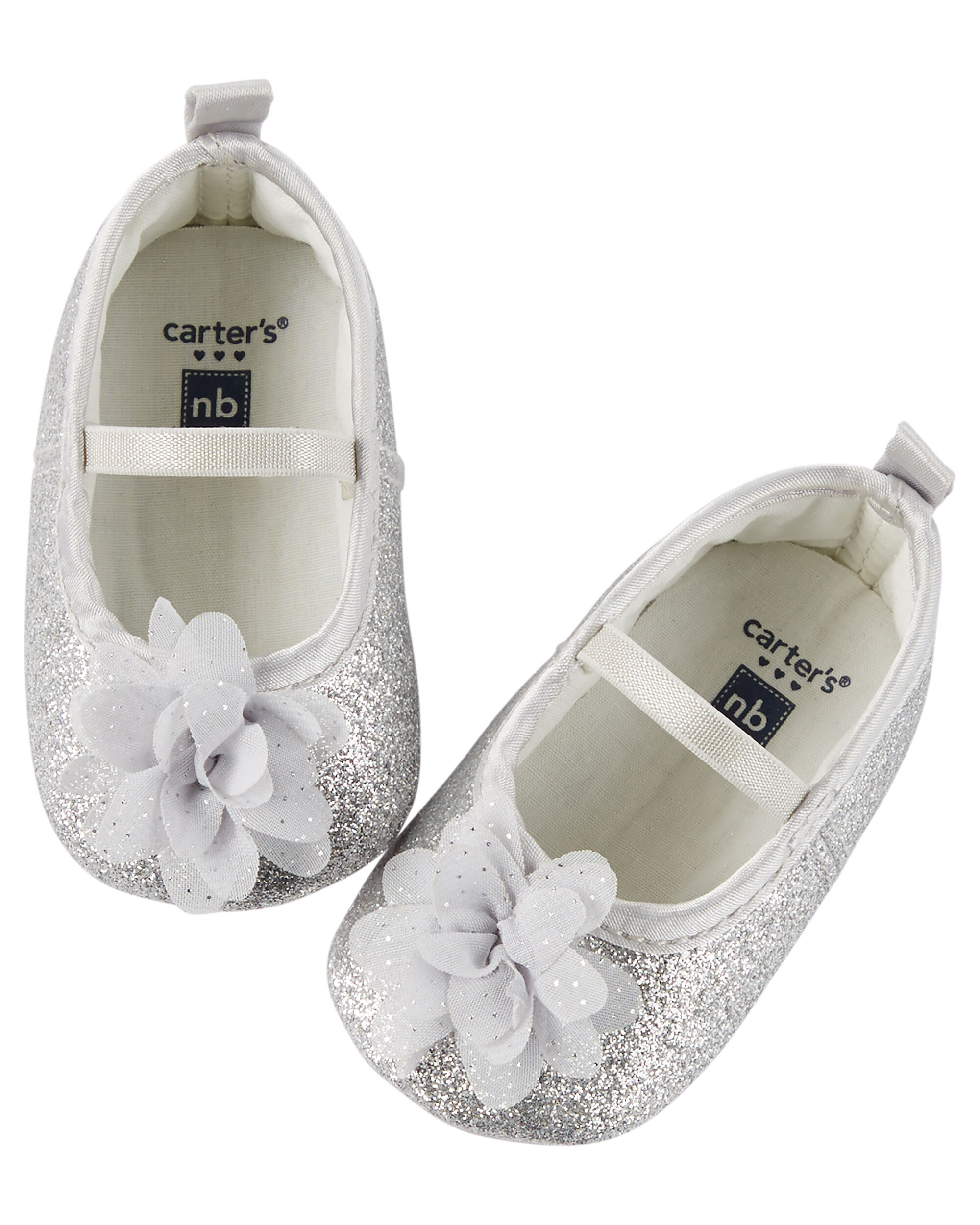 Baby Girl Carter s Sparkle Rosette Mary Jane Crib Shoes