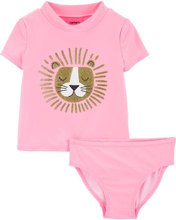Baby Girls/' OshKosh Heart Rashguard-Swimsuit Bottoms Set size 12or 18 months