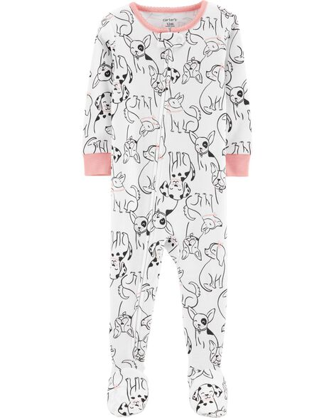 c4379a185584 Toddler Girl 1-Piece Dog Footed Snug Fit Cotton PJs