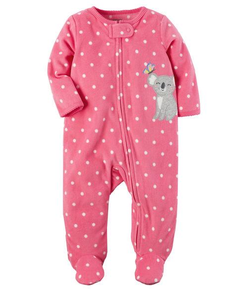 e9cbe2ebd2c7 Baby Girl Koala Zip-Up Fleece Sleep   Play