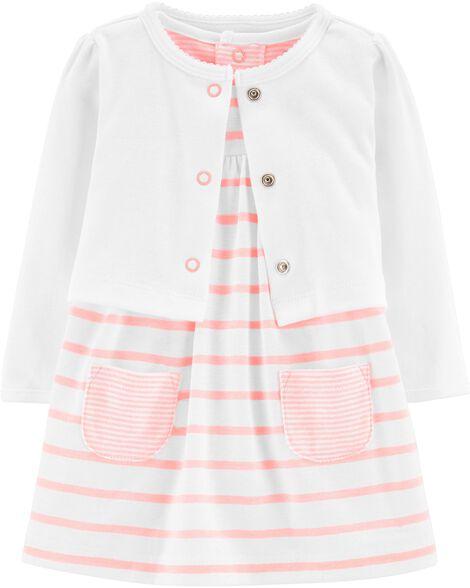 dd55241ce Baby Girl 2-Piece Bodysuit Dress   Cardigan Set
