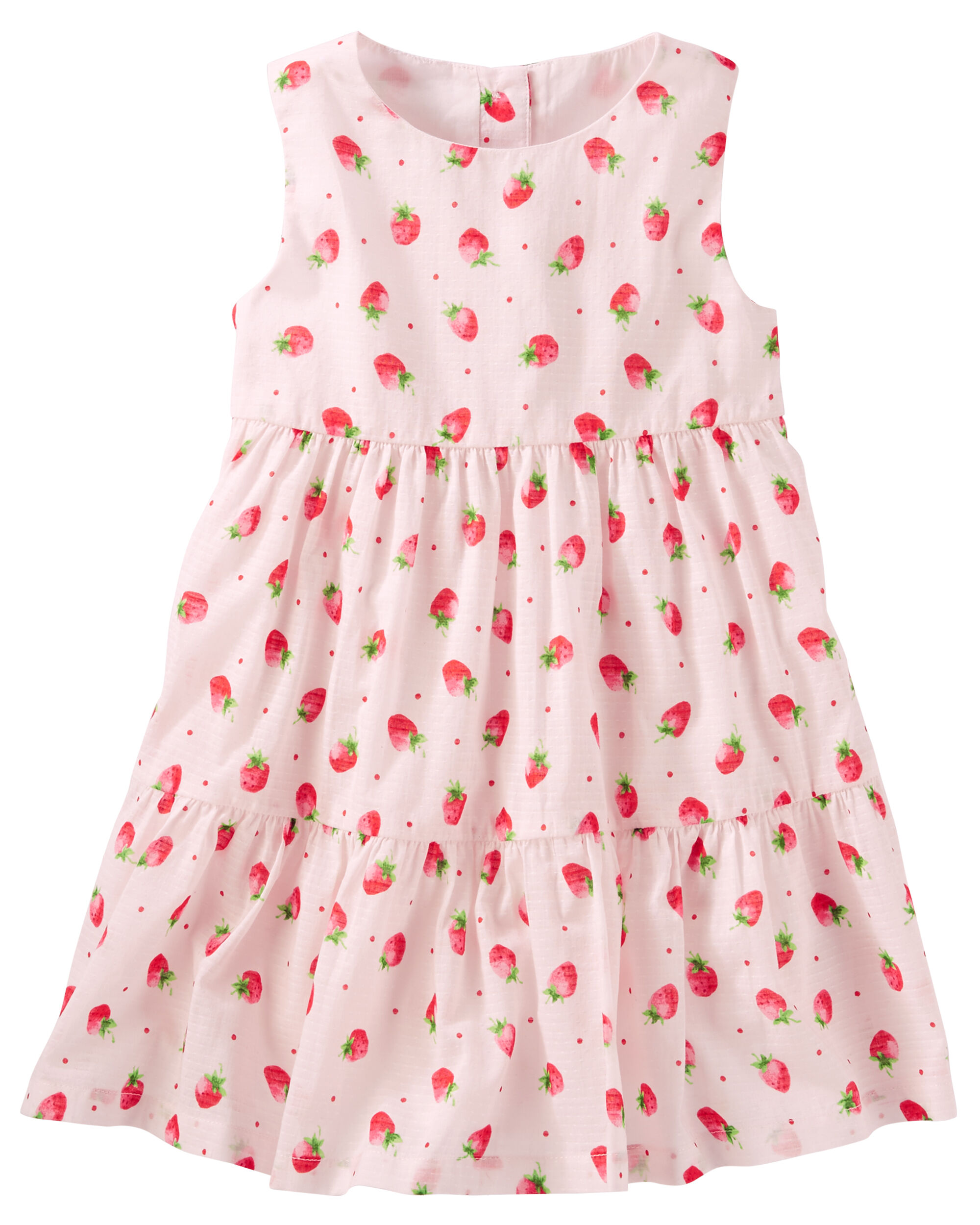 Tiered Ruffle Strawberry Print Dress