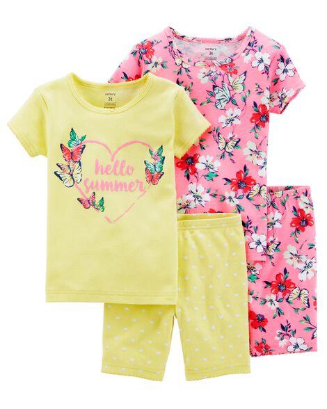 9c7d49b1a7e5 Kid Girl 4-Piece Neon Floral Snug Fit Cotton PJs