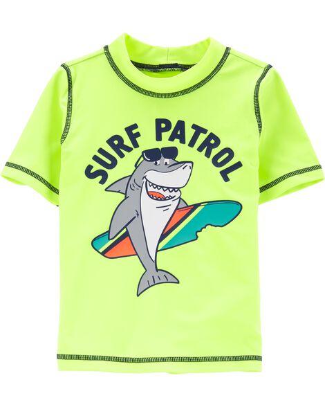98c499b031 Toddler Boy Carter's Neon Shark Surf Patrol Rashguard | Carters.com