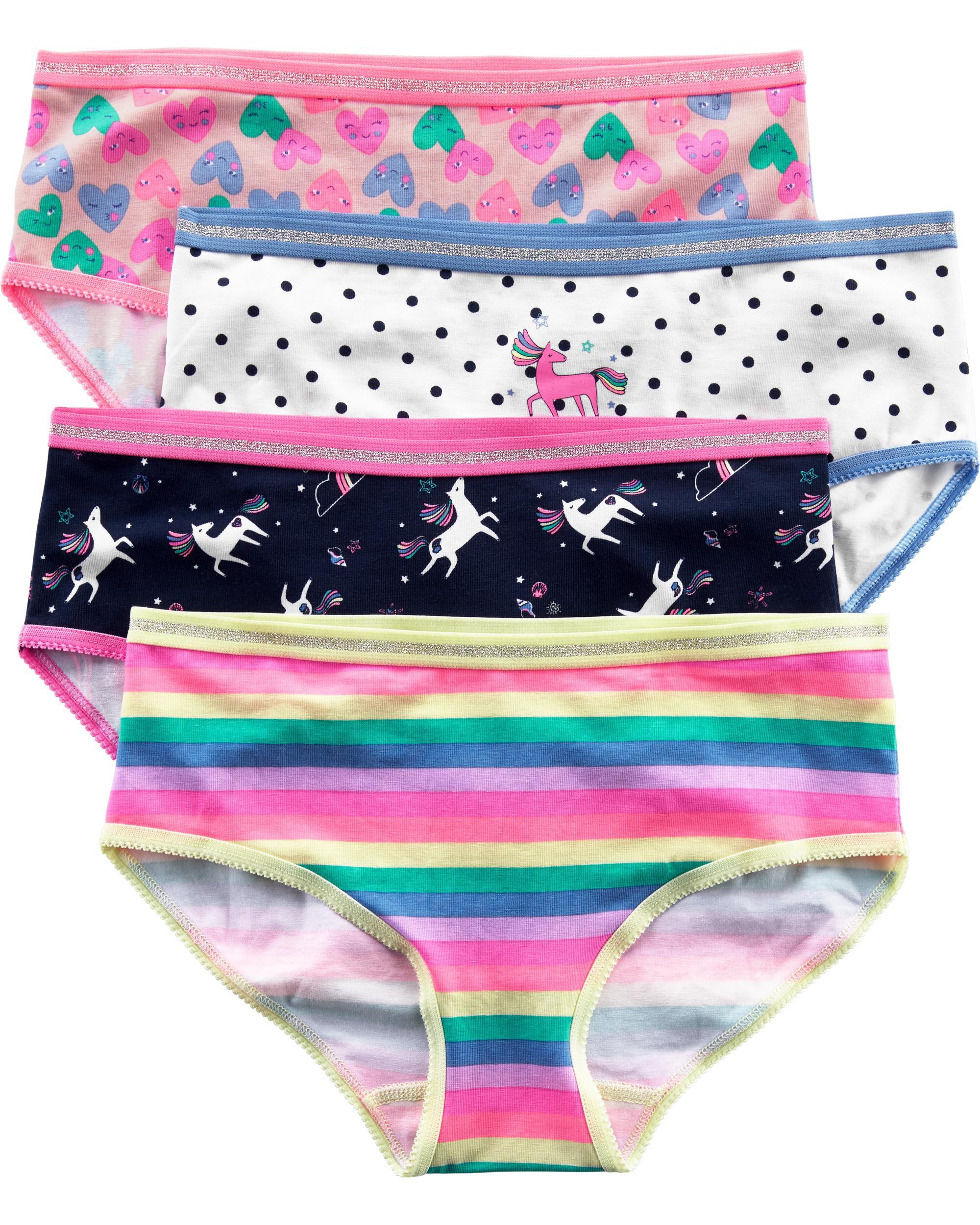 Just Essentials Girls Back to School 5 Pack Cotton Heart Print Briefs