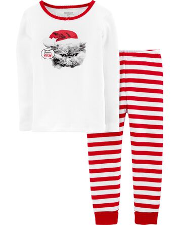 Snug Fit Holiday Cat Cotton PJs