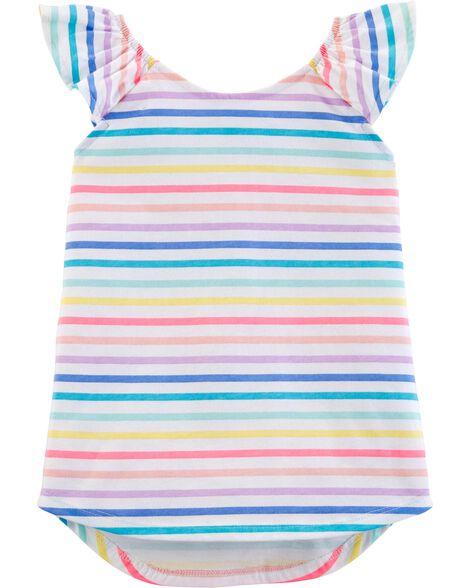 Flutter Sleeve Rainbow Stripe Tunic