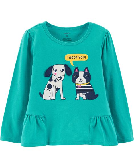 a875fa7df Toddler Girl Dog Ruffle Hem Top | Carters.com