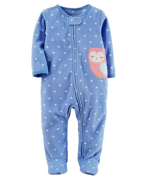 cd055b7b2ab1 Baby Girl Fleece Zip-Up Sleep   Play