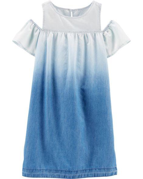 Cold Shoulder Chambray Dress