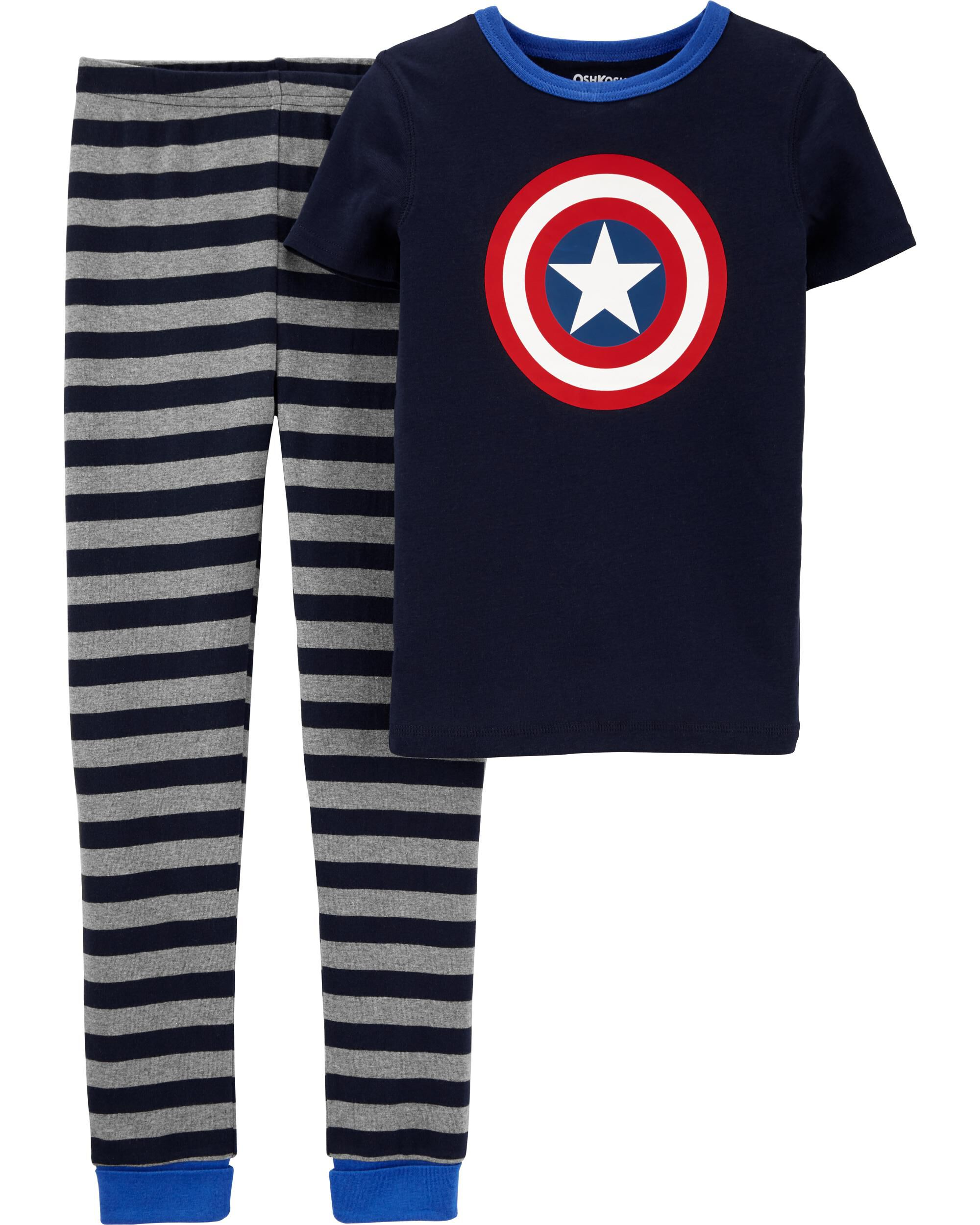 Boys Kids Official Marvel Avengers Captain America Grey Long Sleeve Pyjamas PJs