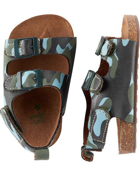 OshKosh Camo Sandal Crib Shoes