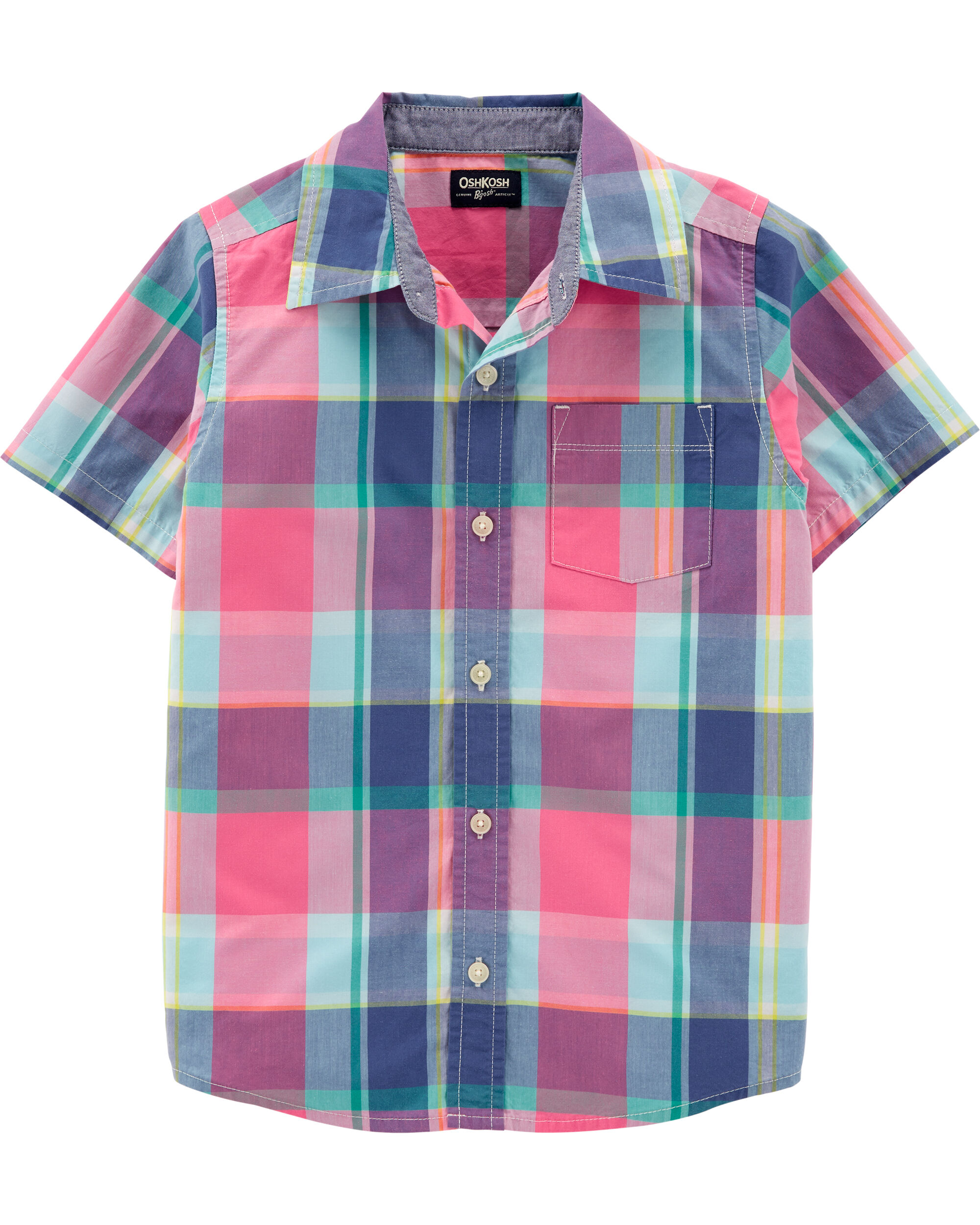 10 Kids Oshkosh Boys Buffalo Check S S Button Front Shirt Turq Boys Clothing