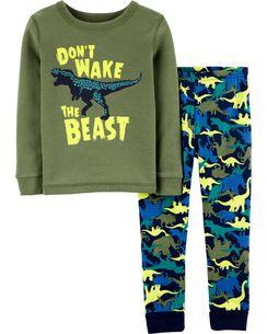 2-Piece Snug Fit Glow Dinosaur Cotton PJs