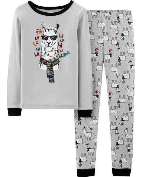 5d3367e67a Images. Snug Fit Christmas Llama Cotton PJs