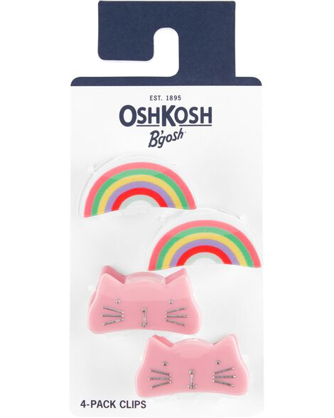 4-Pack Cats & Rainbows Claw Clips