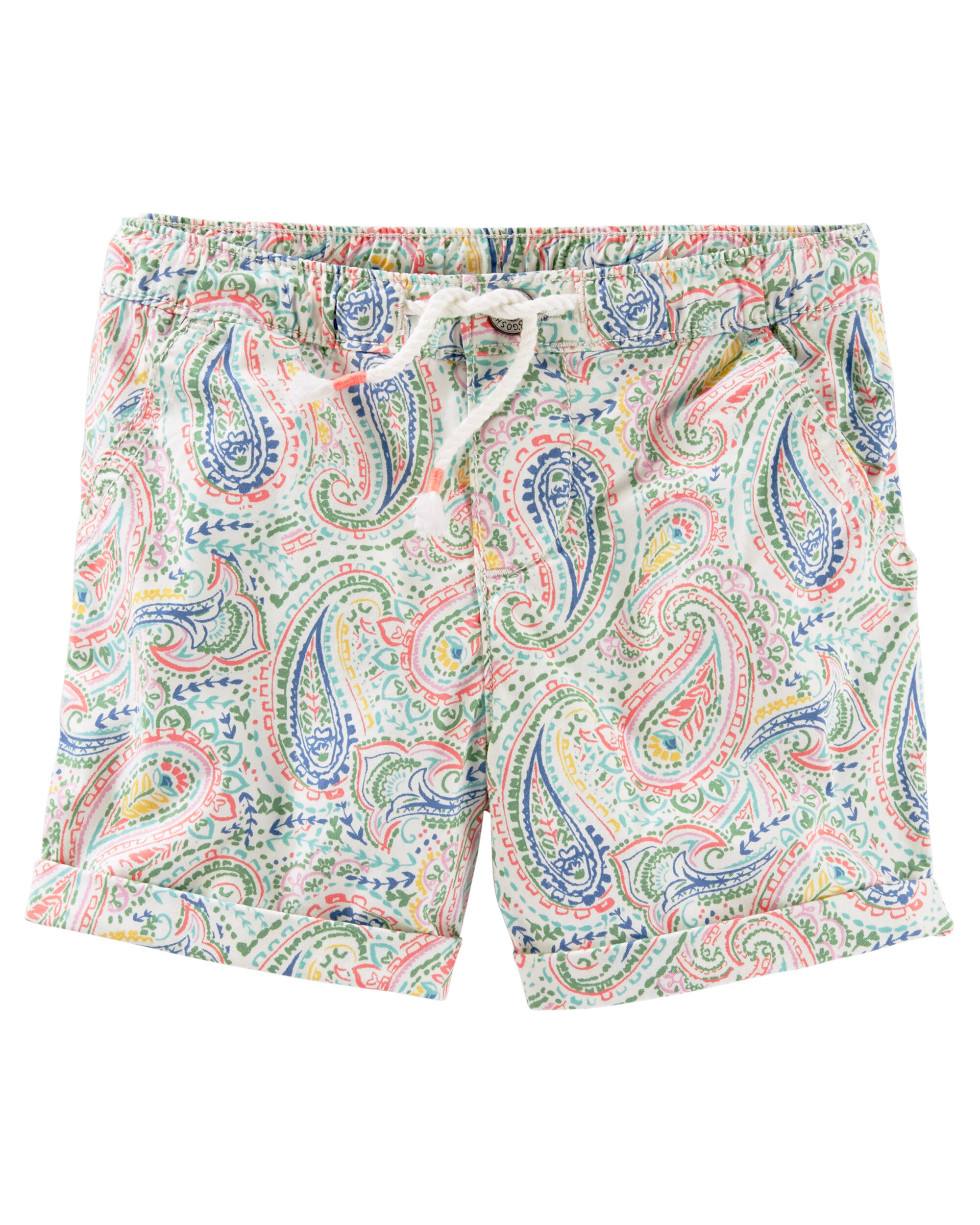 Pull-On Paisley Print Stretch Twill Shorts
