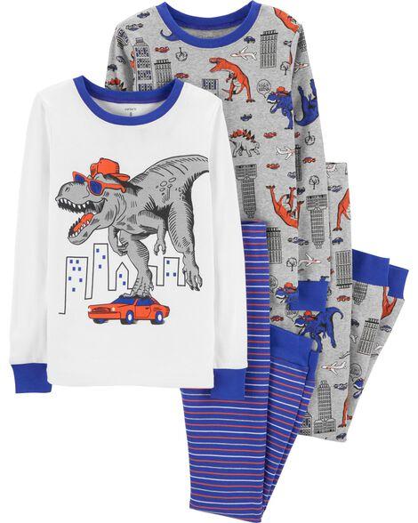 4-Piece Dinosaur Snug Fit Cotton PJs ... f0cf9d074