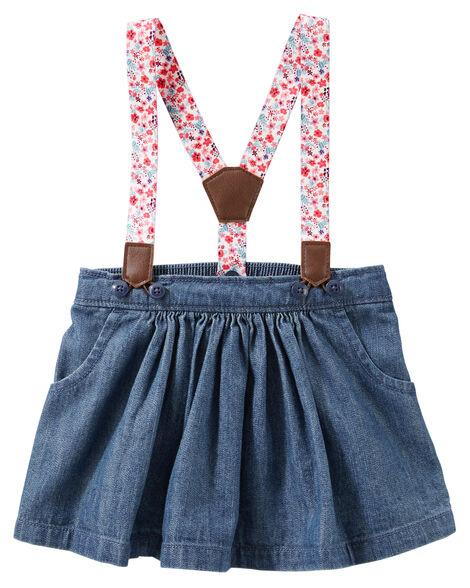440ca2b9a 2-Piece Floral Suspender Denim Skirt