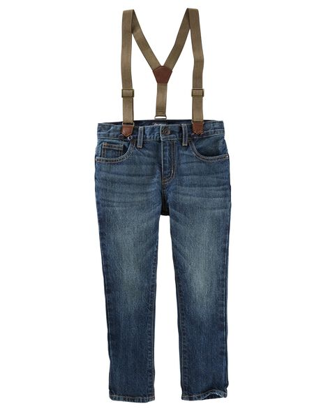 Suspender Jeans - Timber Blue Wash
