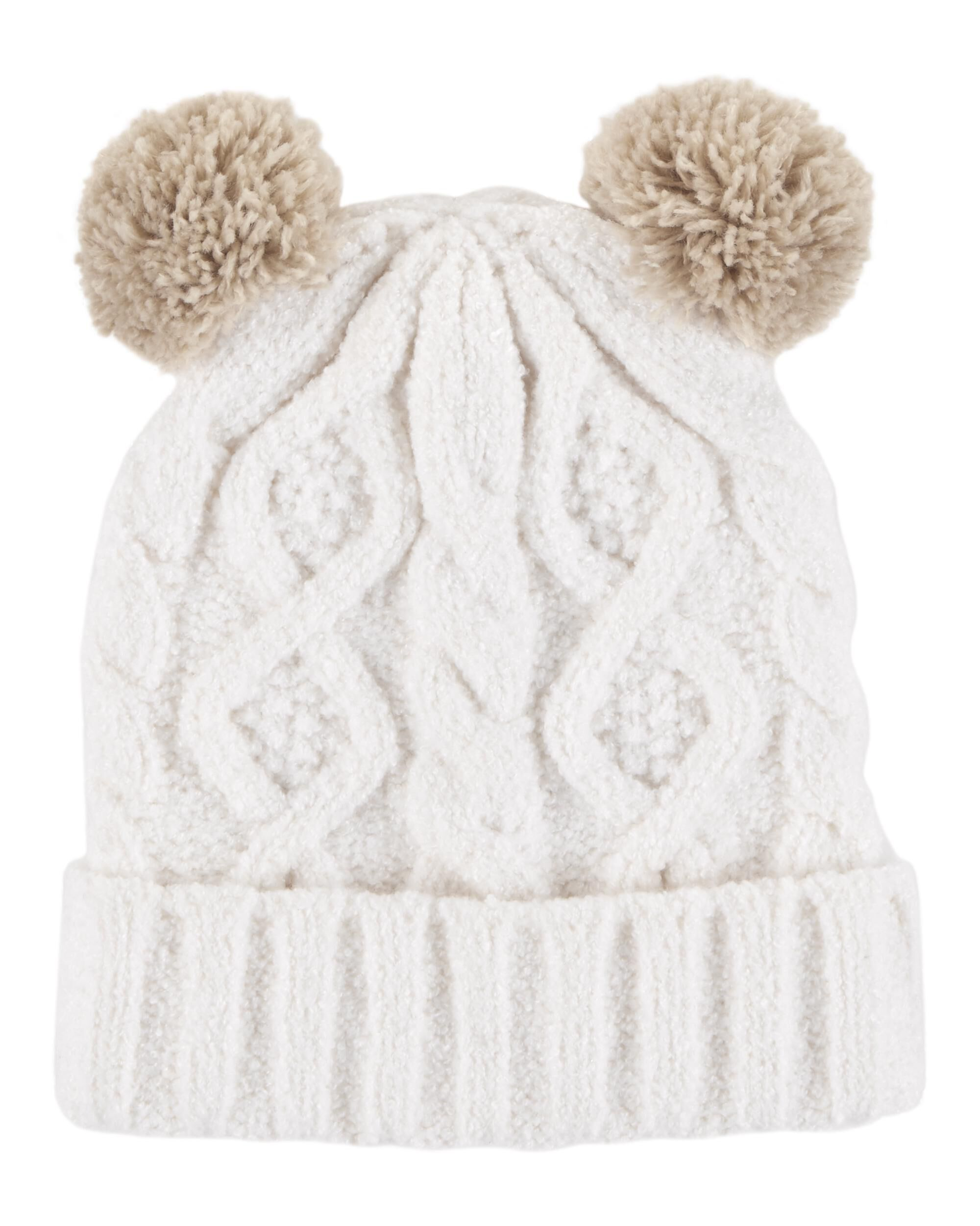 Toddler Girl Pom Pom Cable Knit Hat  a41d4e04772
