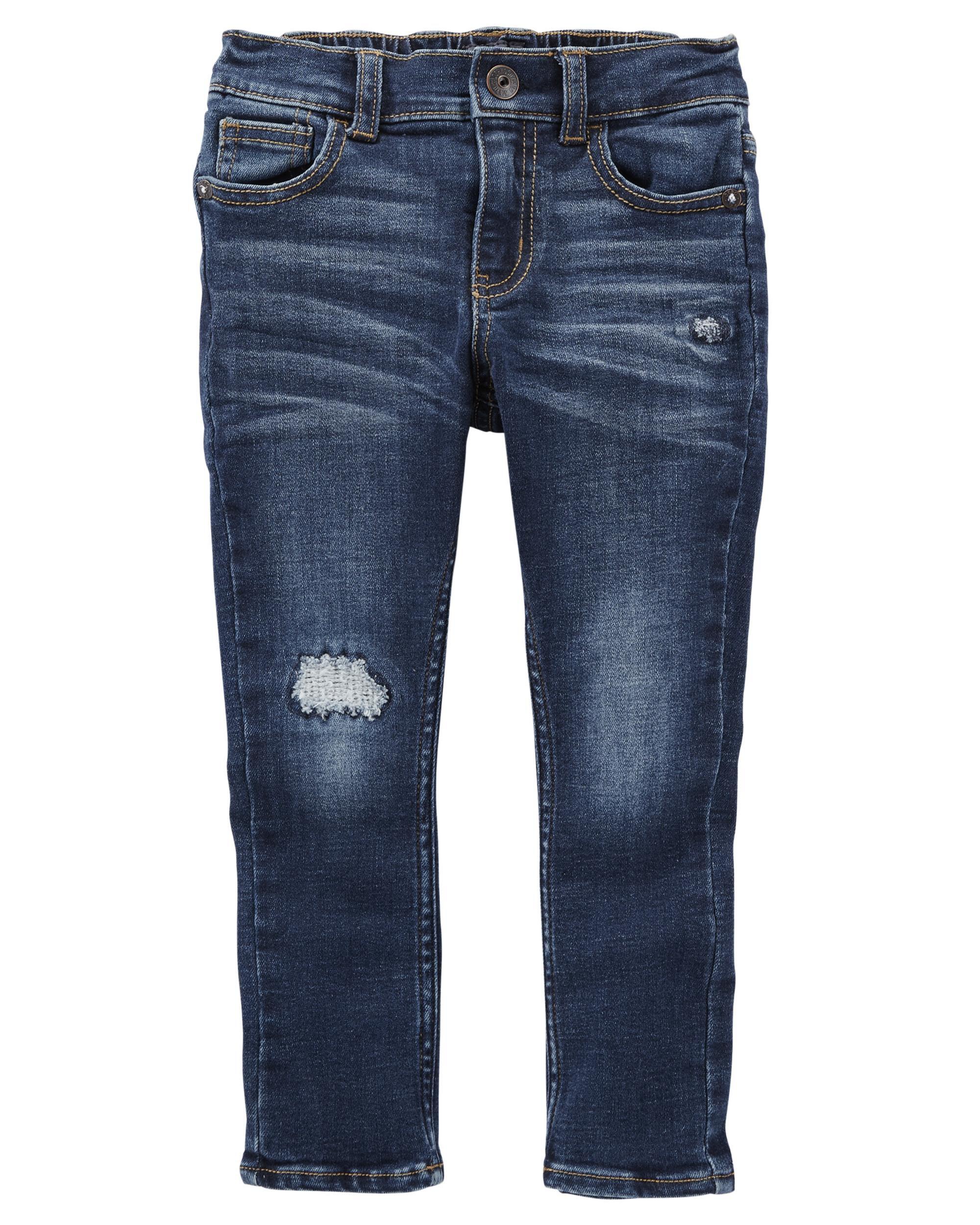 Rip-&-Repair Slim Stretch Jeans - Dark Ocean Wash