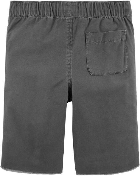 Pull-On Raw Hem Shorts