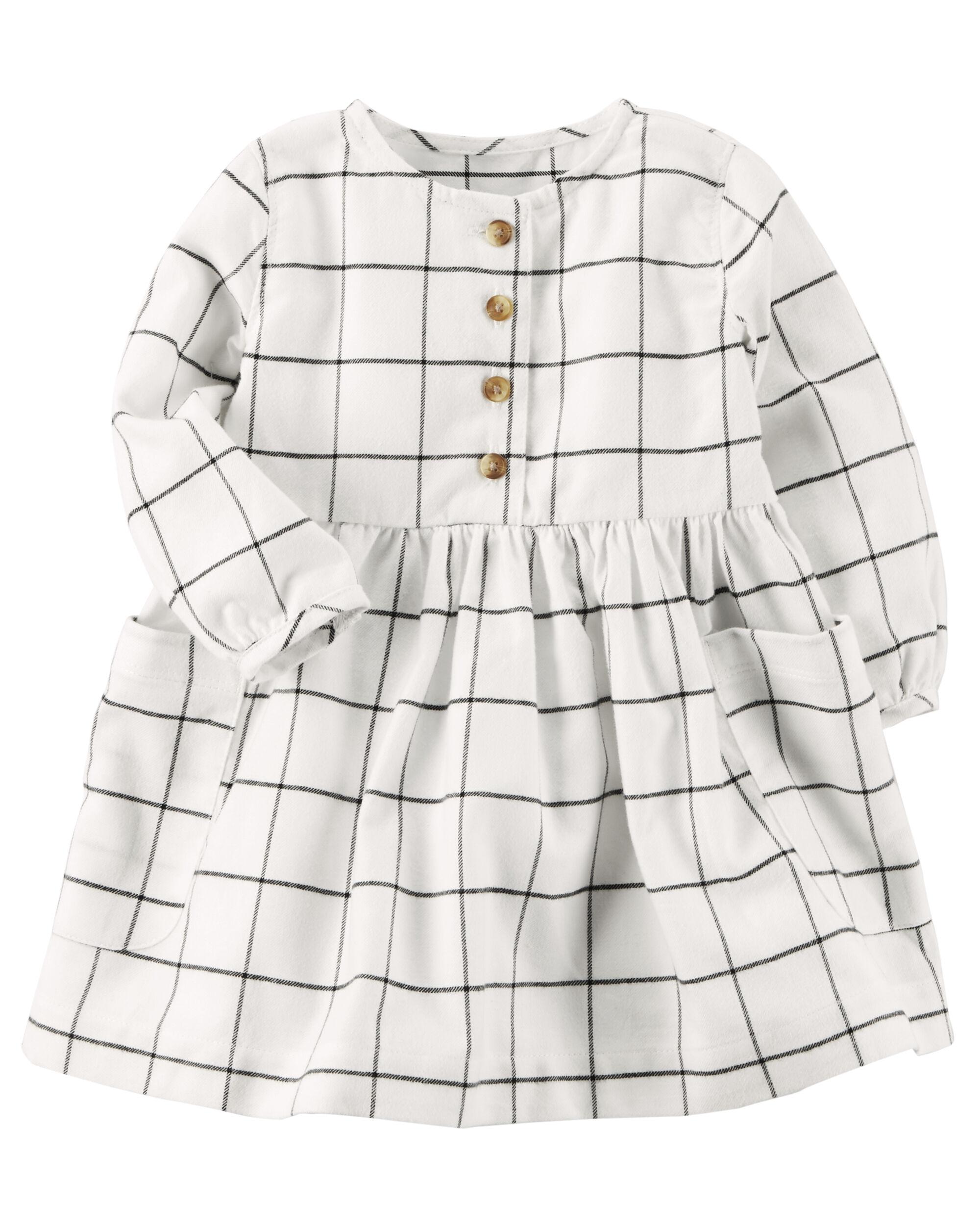 Baby Girl Woven Checkered Dress