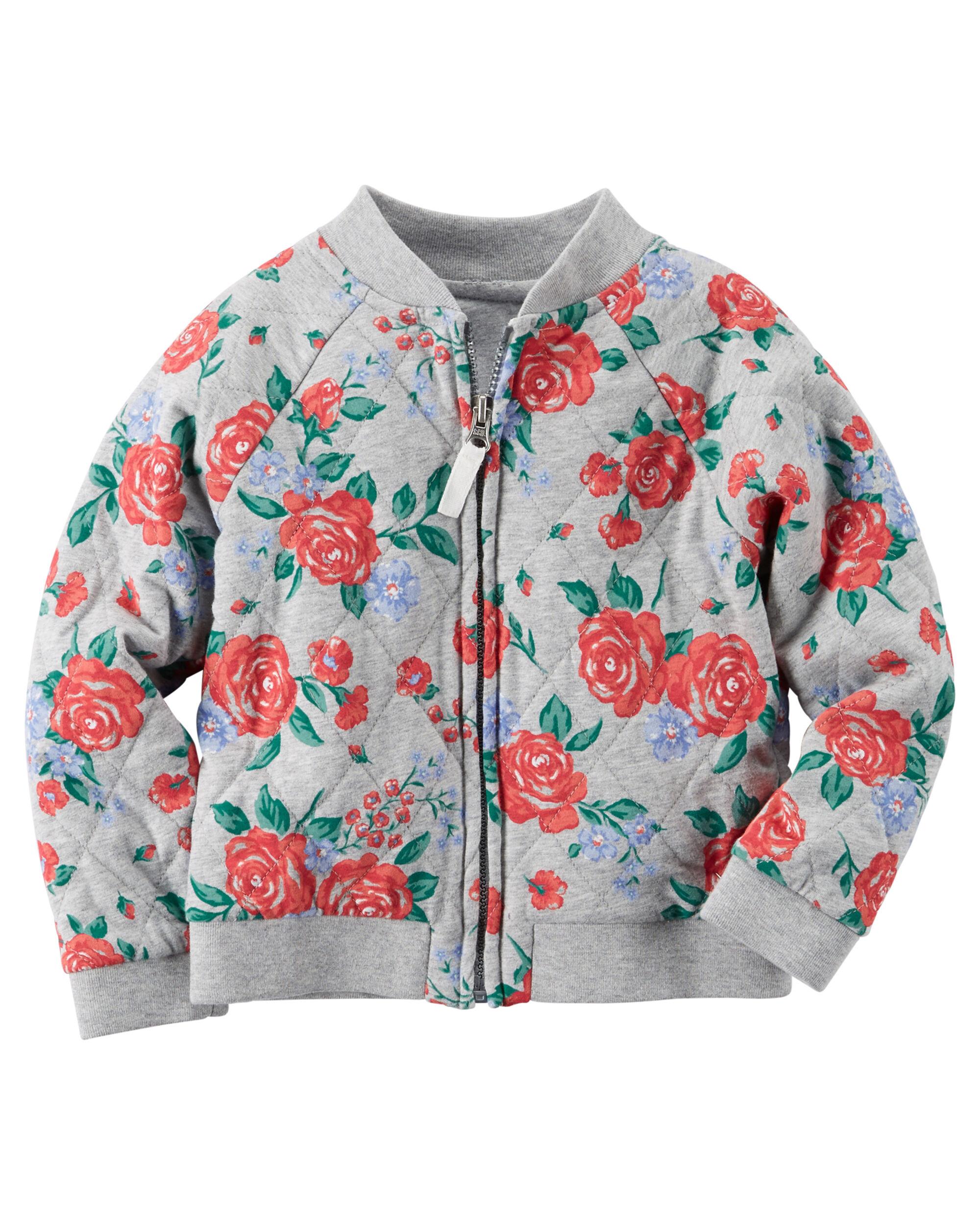 Toddler Girl Lightweight Quilted Floral Bomber Jacket | Carters.com