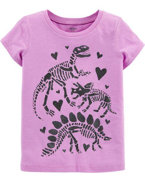 6ed03357 Kid Girl Glitter Dinosaur Jersey Tee | Carters.com